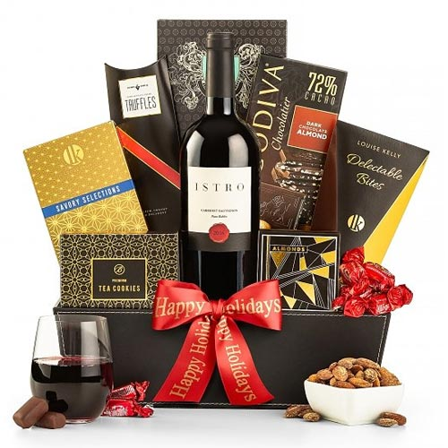 Wonderful All About Wishes Wine N Gourmet Gift Basket