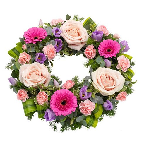 Shades of Pink Funeral Wreath.